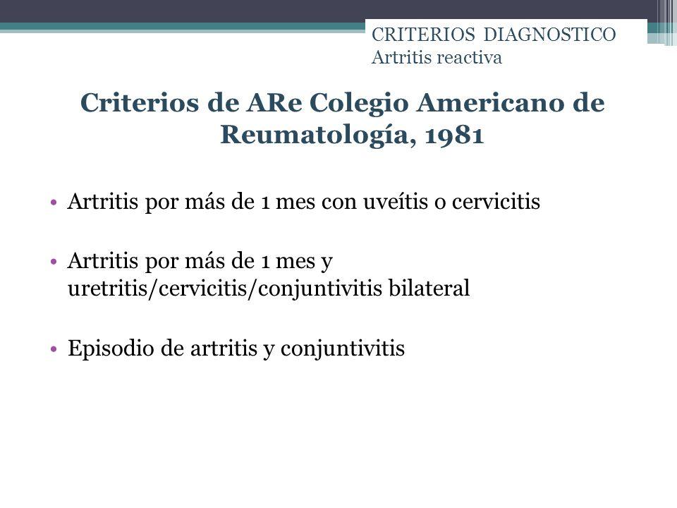 Criterios de ARe Colegio Americano de Reumatología, 1981 Artritis por más de 1 mes con uveítis o cervicitis Artritis por más de 1 mes y uretritis/cerv