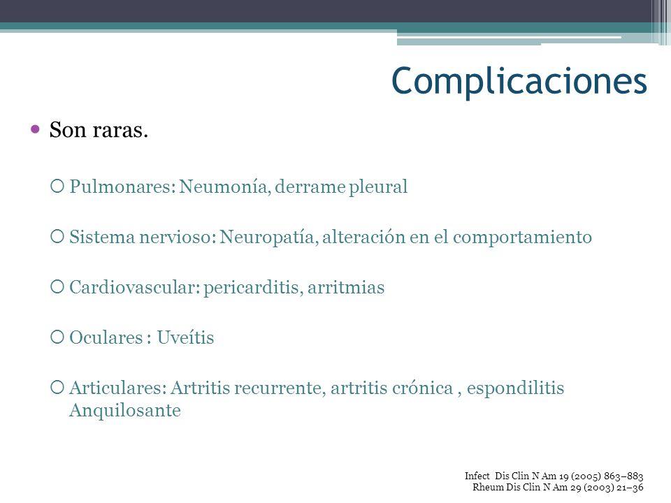 Complicaciones Son raras. Pulmonares: Neumonía, derrame pleural Sistema nervioso: Neuropatía, alteración en el comportamiento Cardiovascular: pericard