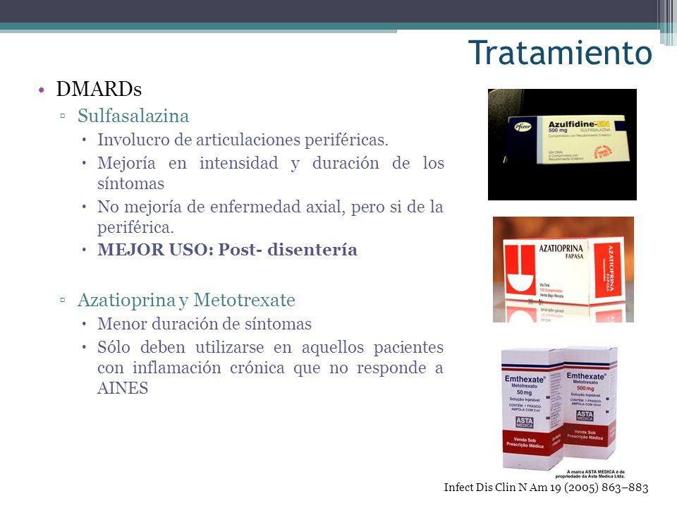 Tratamiento DMARDs Sulfasalazina Involucro de articulaciones periféricas. Mejoría en intensidad y duración de los síntomas No mejoría de enfermedad ax