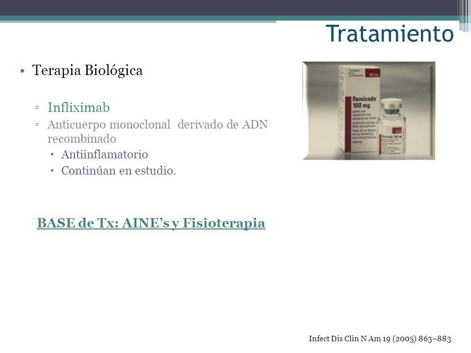 Terapia Biológica Infliximab Anticuerpo monoclonal derivado de ADN recombinado Antiinflamatorio Continúan en estudio. BASE de Tx: AINEs y Fisioterapia