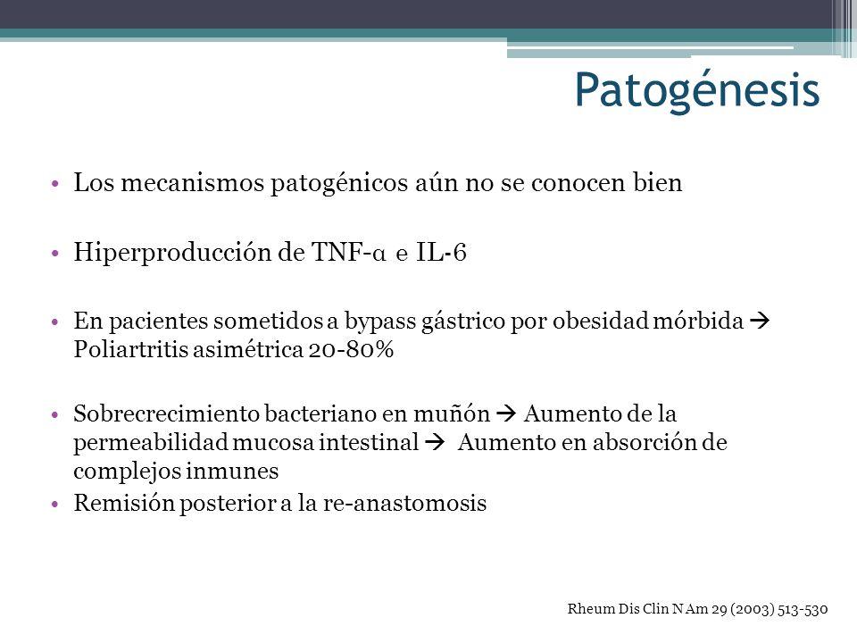 Patogénesis Los mecanismos patogénicos aún no se conocen bien Hiperproducción de TNF- α e IL-6 En pacientes sometidos a bypass gástrico por obesidad m