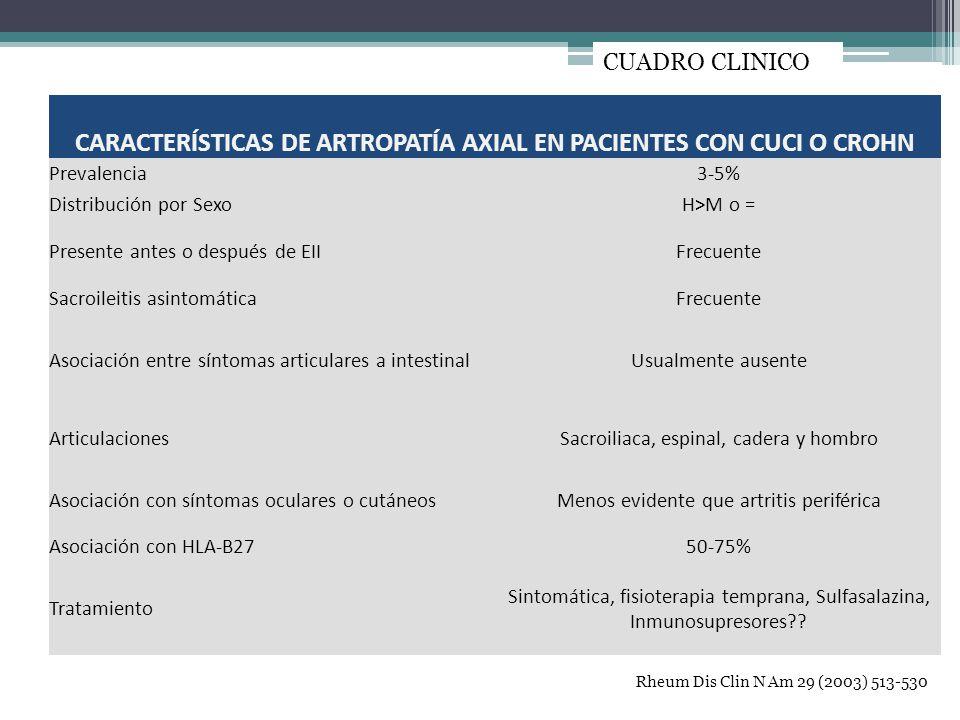 Cuadro clínico Rheum Dis Clin N Am 29 (2003) 513-530 CARACTERÍSTICAS DE ARTROPATÍA AXIAL EN PACIENTES CON CUCI O CROHN Prevalencia3-5% Distribución po
