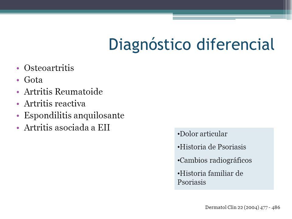 Diagnóstico diferencial Osteoartritis Gota Artritis Reumatoide Artritis reactiva Espondilitis anquilosante Artritis asociada a EII Dolor articular His