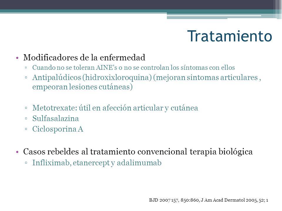 Tratamiento Modificadores de la enfermedad Cuando no se toleran AINEs o no se controlan los síntomas con ellos Antipalúdicos (hidroxixloroquina) (mejo