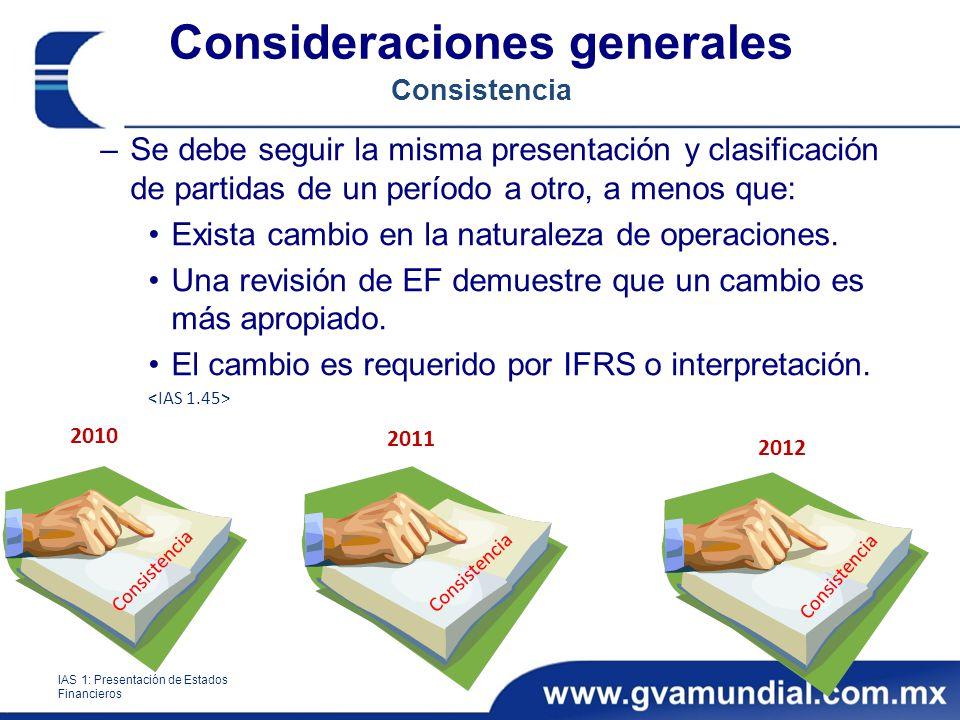 Consideraciones generales Consistencia –Se debe seguir la misma presentación y clasificación de partidas de un período a otro, a menos que: Exista cambio en la naturaleza de operaciones.