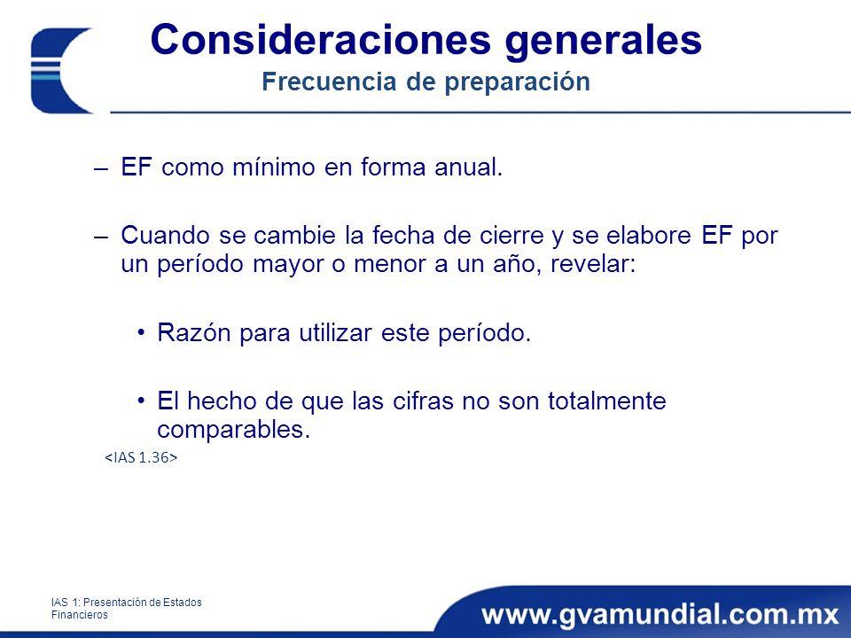 Consideraciones generales Frecuencia de preparación –EF como mínimo en forma anual. –Cuando se cambie la fecha de cierre y se elabore EF por un períod