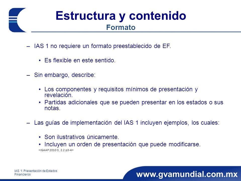 Estructura y contenido Formato –IAS 1 no requiere un formato preestablecido de EF. Es flexible en este sentido. –Sin embargo, describe: Los componente