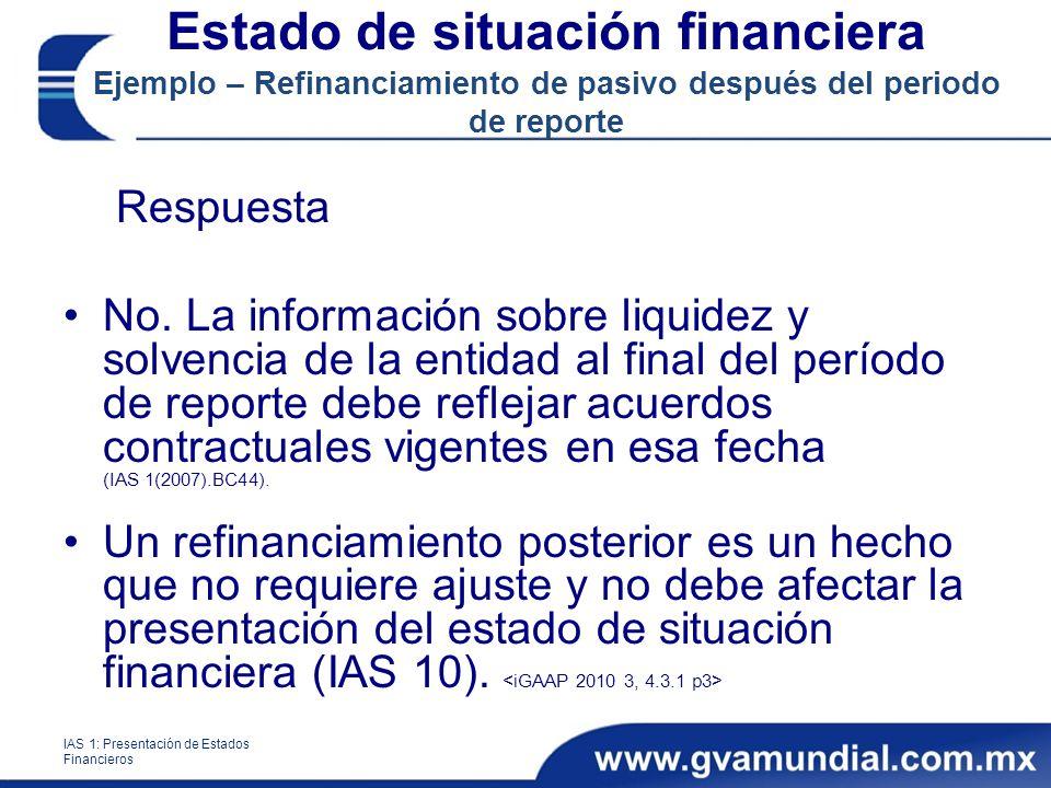 Respuesta No. La información sobre liquidez y solvencia de la entidad al final del período de reporte debe reflejar acuerdos contractuales vigentes en