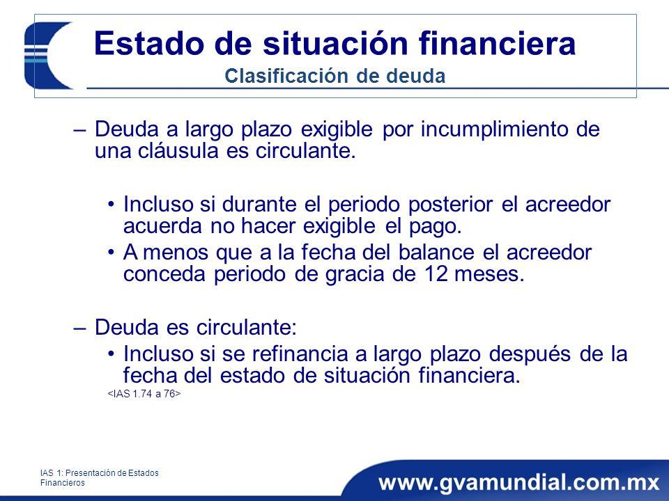 Estado de situación financiera Clasificación de deuda –Deuda a largo plazo exigible por incumplimiento de una cláusula es circulante. Incluso si duran