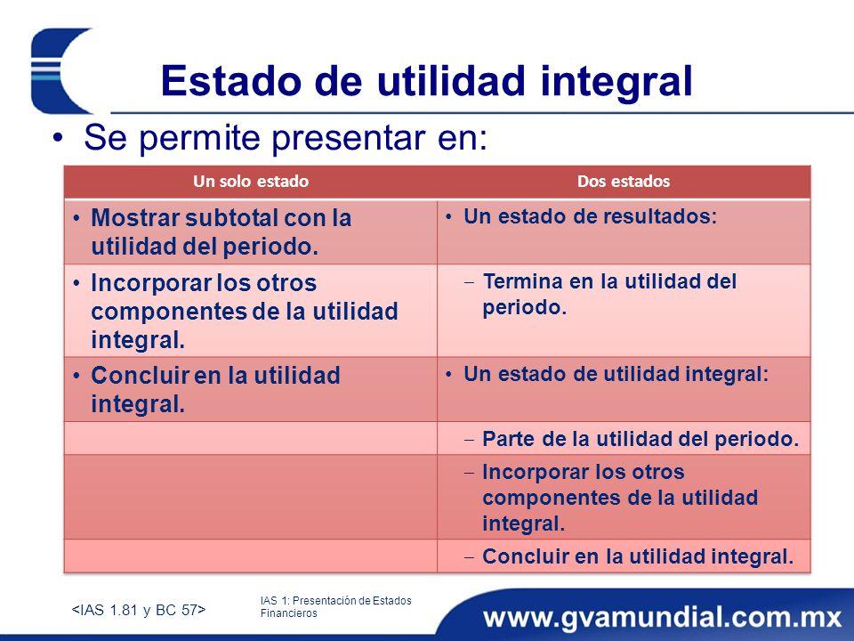 Estado de utilidad integral Se permite presentar en: IAS 1: Presentación de Estados Financieros