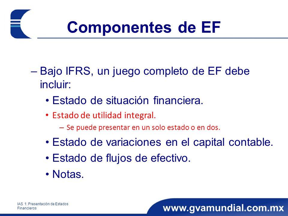 Componentes de EF –Bajo IFRS, un juego completo de EF debe incluir: Estado de situación financiera. Estado de utilidad integral. – Se puede presentar
