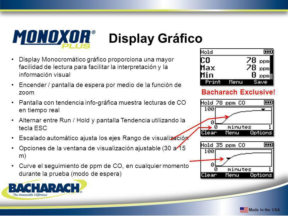 Made in the USA Display Gráfico Display Monocromático gráfico proporciona una mayor facilidad de lectura para facilitar la interpretación y la informa