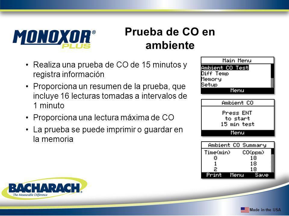 Made in the USA Prueba de CO en ambiente Realiza una prueba de CO de 15 minutos y registra información Proporciona un resumen de la prueba, que incluy