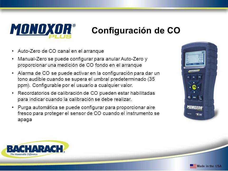 Made in the USA Configuración de CO Auto-Zero de CO canal en el arranque Manual-Zero se puede configurar para anular Auto-Zero y proporcionar una medi