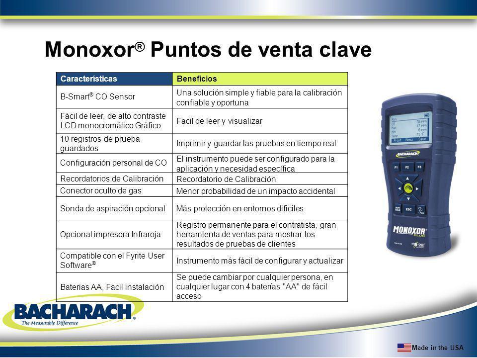Made in the USA Monoxor ® Puntos de venta clave CaracterísticasBeneficios B-Smart ® CO Sensor Una solución simple y fiable para la calibración confiab