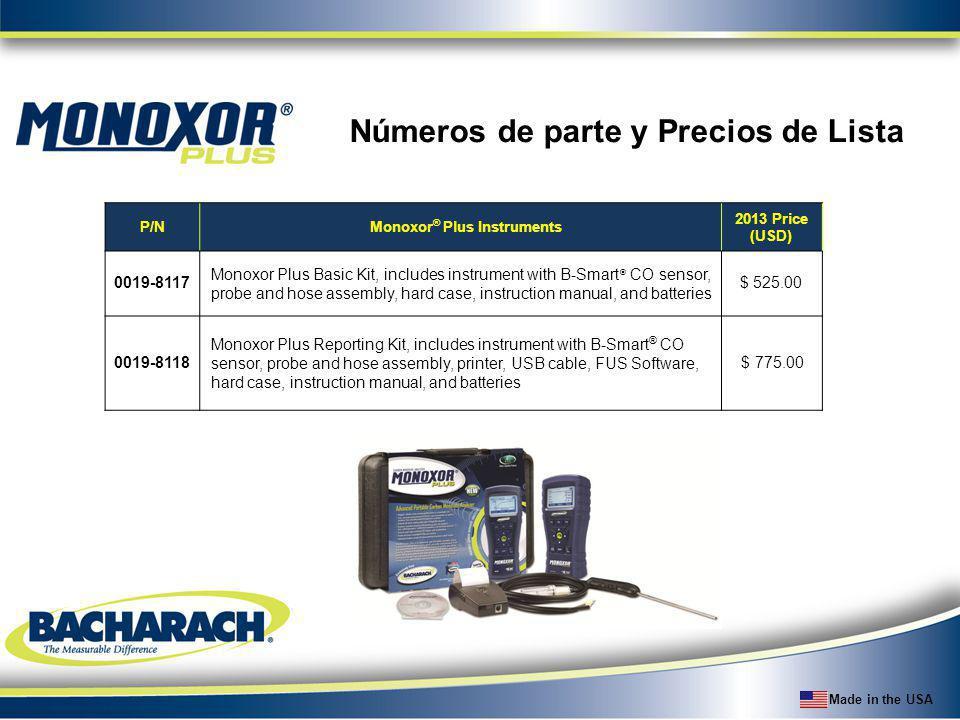Made in the USA Números de parte y Precios de Lista P/NMonoxor ® Plus Instruments 2013 Price (USD) 0019-8117 Monoxor Plus Basic Kit, includes instrume
