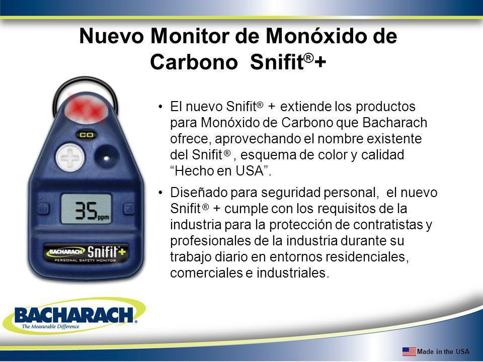 Made in the USA Nuevo Monitor de Monóxido de Carbono Snifit ® + El nuevo Snifit ® + extiende los productos para Monóxido de Carbono que Bacharach ofre