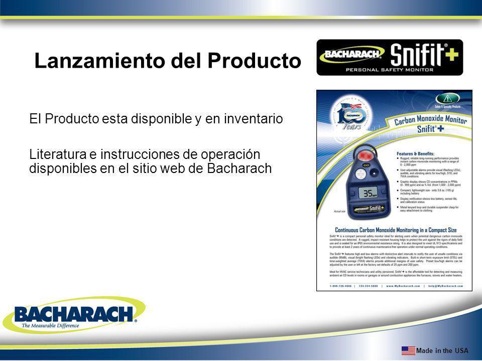 Made in the USA Lanzamiento del Producto El Producto esta disponible y en inventario Literatura e instrucciones de operación disponibles en el sitio w