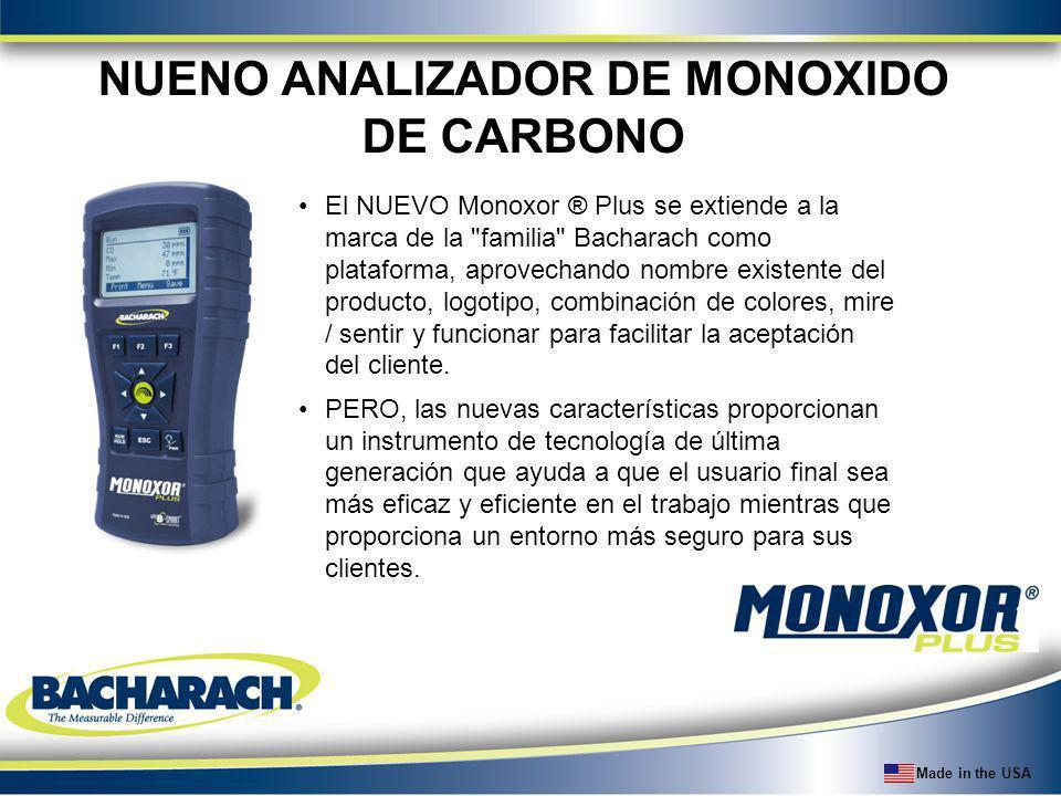 Made in the USA Configuración de CO Auto-Zero de CO canal en el arranque Manual-Zero se puede configurar para anular Auto-Zero y proporcionar una medición de CO fondo en el arranque Alarma de CO se puede activar en la configuración para dar un tono audible cuando se supera el umbral predeterminado (35 ppm).