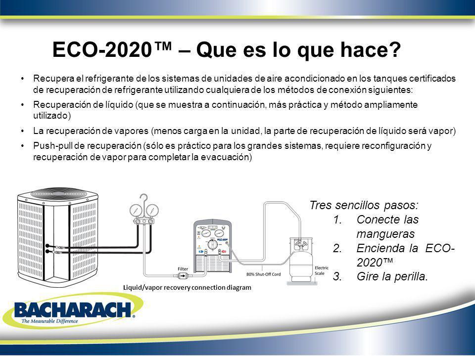 Recupera el refrigerante de los sistemas de unidades de aire acondicionado en los tanques certificados de recuperación de refrigerante utilizando cual