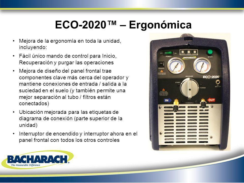 Mejora de la ergonomía en toda la unidad, incluyendo: Fácil único mando de control para Inicio, Recuperación y purgar las operaciones Mejora de diseño