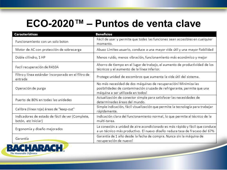 ECO-2020 – Puntos de venta clave CaracterísticasBeneficios Funcionamiento con un solo boton Fácil de usar y permite que todas las funciones sean acces