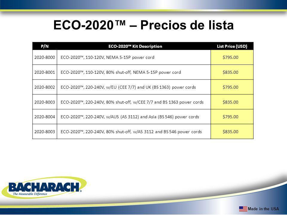 Made in the USA ECO-2020 – Precios de lista P/NECO-2020 Kit DescriptionList Price (USD) 2020-8000ECO-2020, 110-120V, NEMA 5-15P power cord$795.00 2020