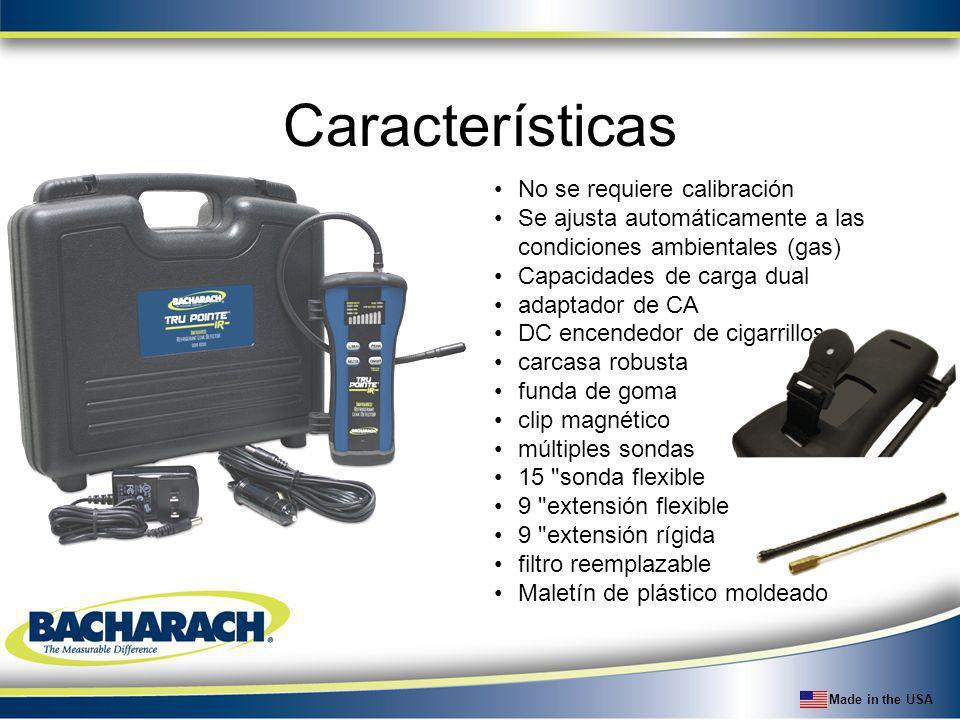 Made in the USA Características No se requiere calibración Se ajusta automáticamente a las condiciones ambientales (gas) Capacidades de carga dual ada