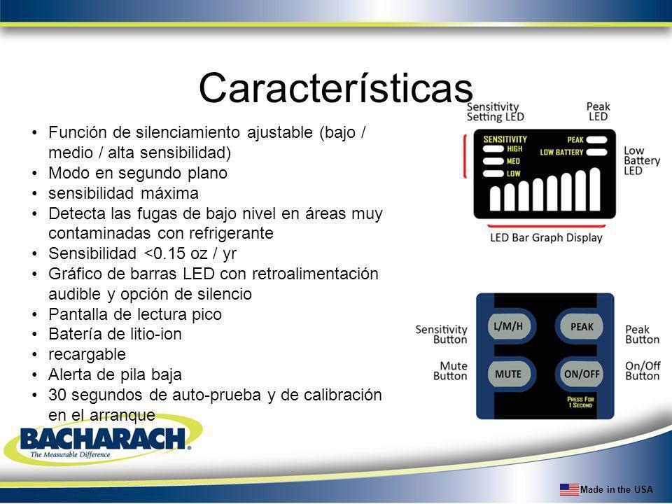 Made in the USA Características Función de silenciamiento ajustable (bajo / medio / alta sensibilidad) Modo en segundo plano sensibilidad máxima Detec