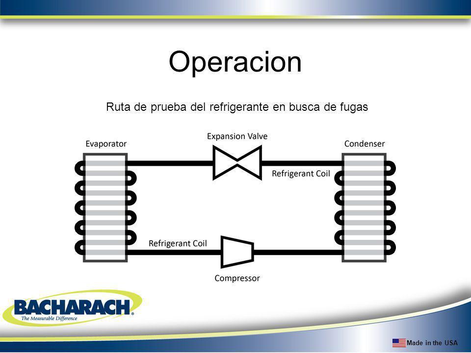 Made in the USA Operacion Ruta de prueba del refrigerante en busca de fugas