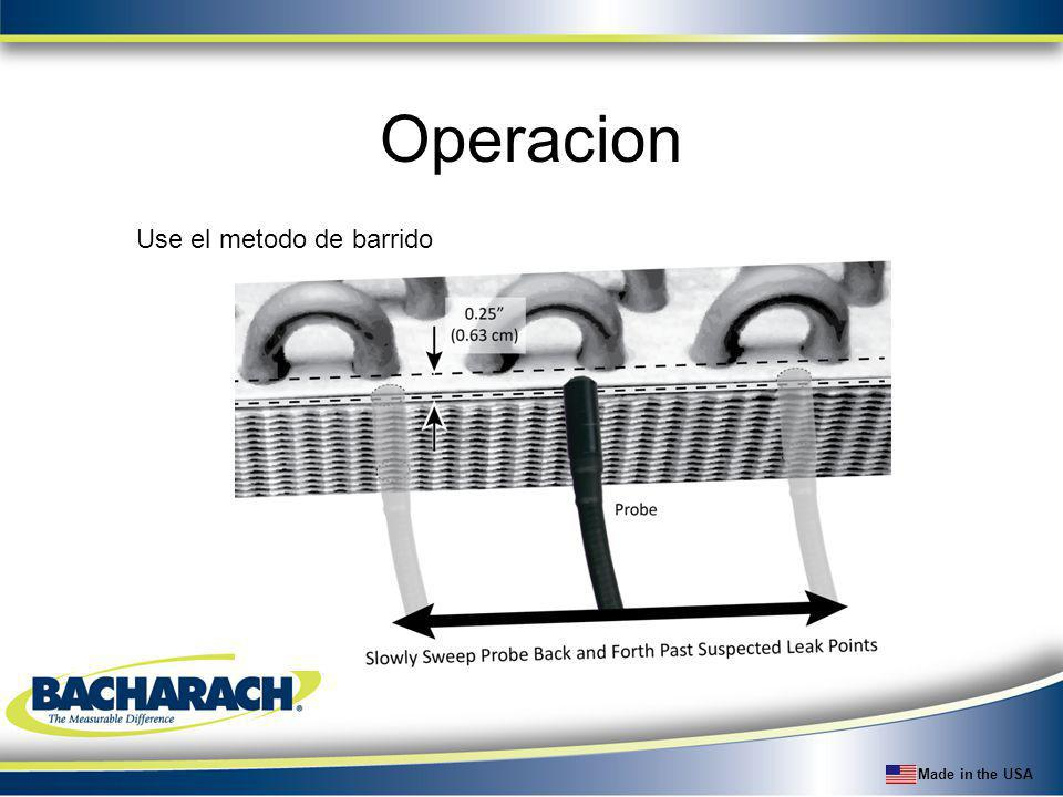Made in the USA Operacion Use el metodo de barrido