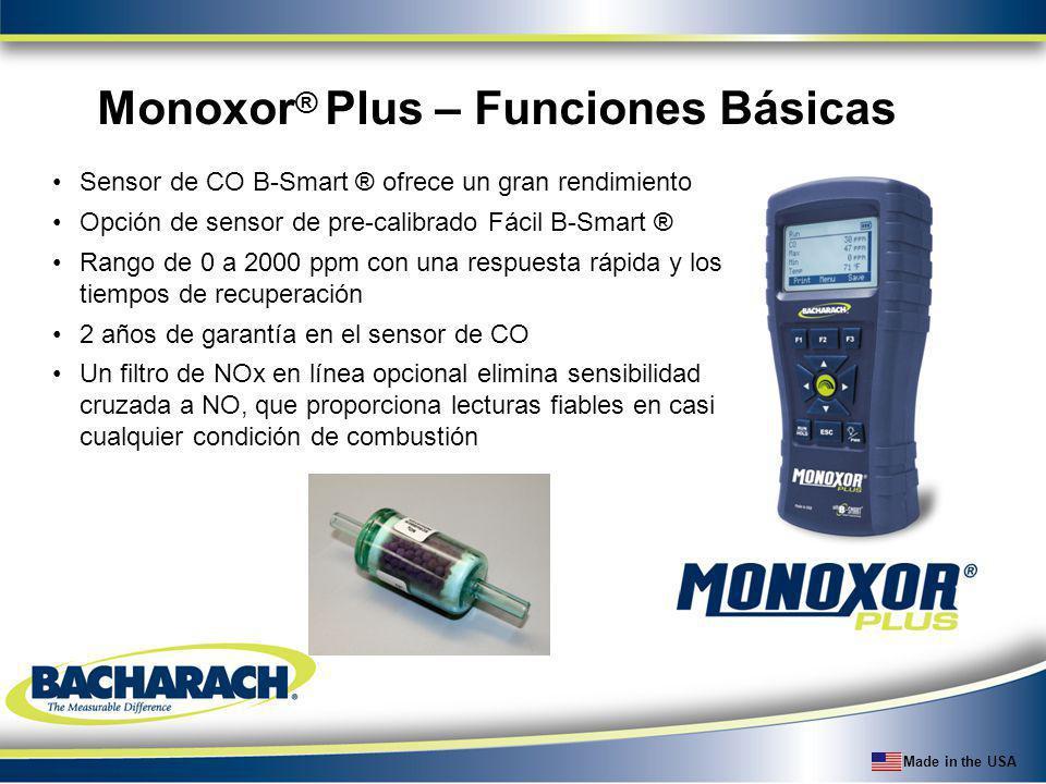Made in the USA Sensor de CO B-Smart ® ofrece un gran rendimiento Opción de sensor de pre-calibrado Fácil B-Smart ® Rango de 0 a 2000 ppm con una resp
