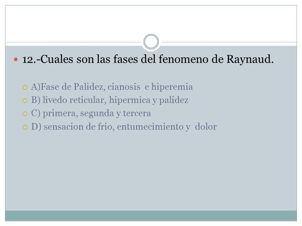 12.-Cuales son las fases del fenomeno de Raynaud.