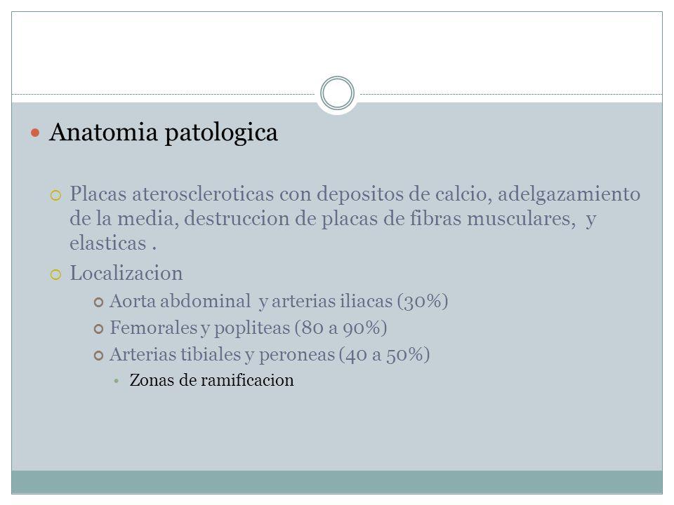 Anatomia patologica Placas ateroscleroticas con depositos de calcio, adelgazamiento de la media, destruccion de placas de fibras musculares, y elasticas.