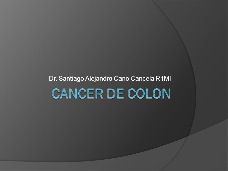 CANCER DE COLON El cáncer colorrectal es el tercer tipo de cáncer más común en hombres y mujeres en el mundo Tercera causa de muerte por cáncer en hombres y mujeres en forma separada Segunda causa de muerte en total por cáncer en Estados Unidos Influenciado por factores ambientales y genéticos
