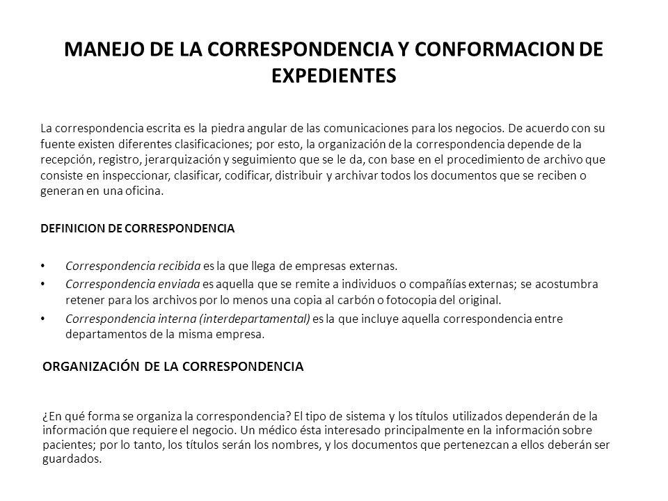 MANEJO DE LA CORRESPONDENCIA Y CONFORMACION DE EXPEDIENTES La correspondencia escrita es la piedra angular de las comunicaciones para los negocios. De