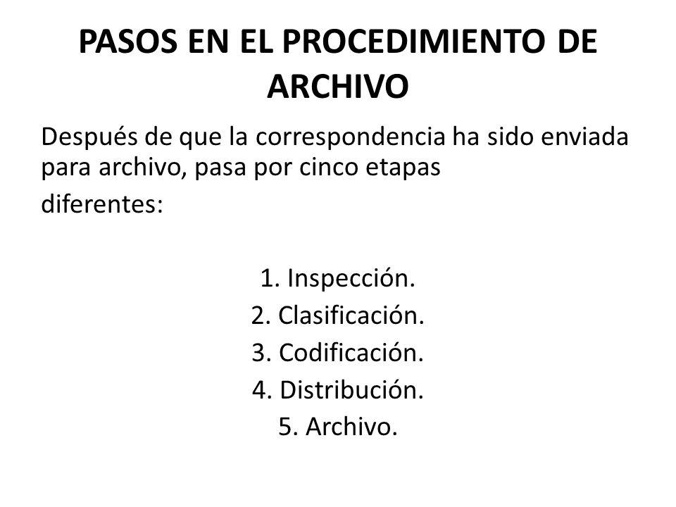 PASOS EN EL PROCEDIMIENTO DE ARCHIVO Después de que la correspondencia ha sido enviada para archivo, pasa por cinco etapas diferentes: 1. Inspección.