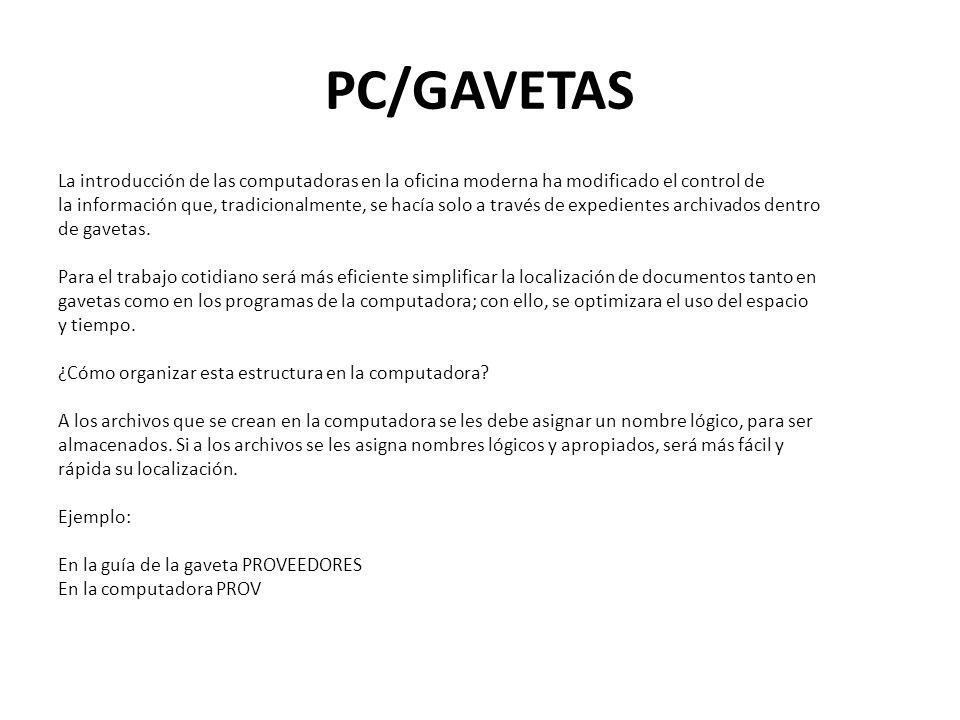 PC/GAVETAS La introducción de las computadoras en la oficina moderna ha modificado el control de la información que, tradicionalmente, se hacía solo a