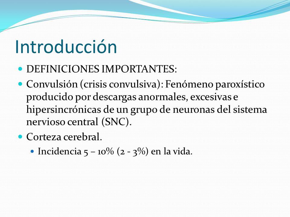 Introducción DEFINICIONES IMPORTANTES: Convulsión (crisis convulsiva): Fenómeno paroxístico producido por descargas anormales, excesivas e hipersincrónicas de un grupo de neuronas del sistema nervioso central (SNC).