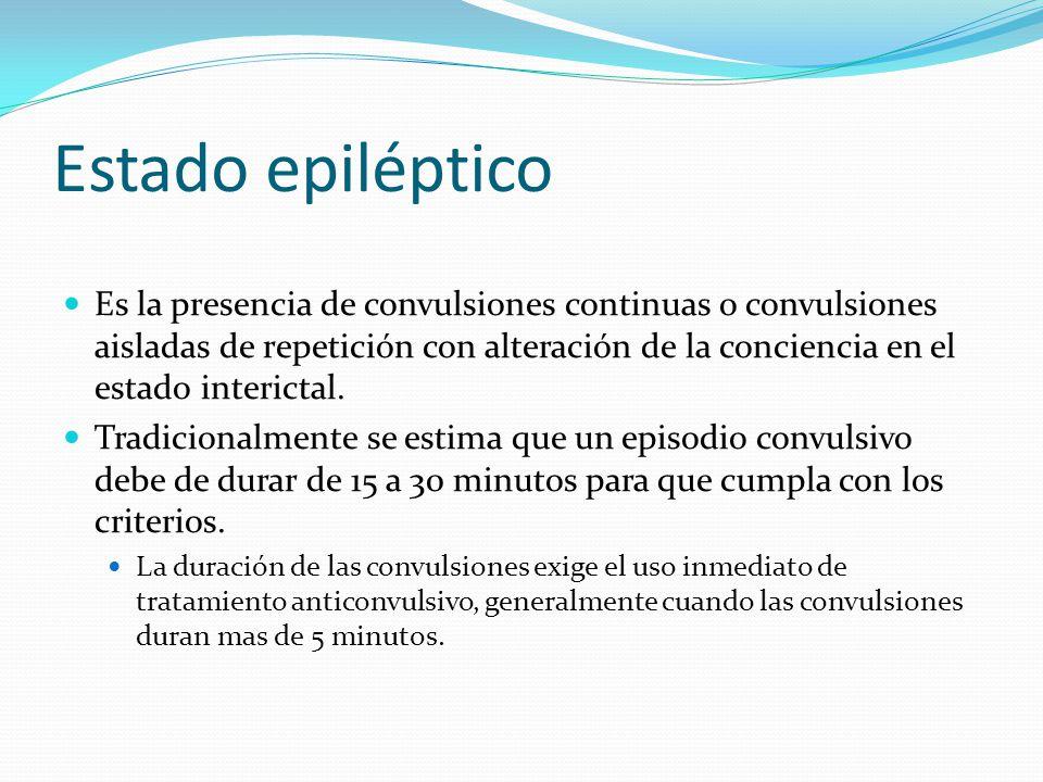 Estado epiléptico Es la presencia de convulsiones continuas o convulsiones aisladas de repetición con alteración de la conciencia en el estado interictal.