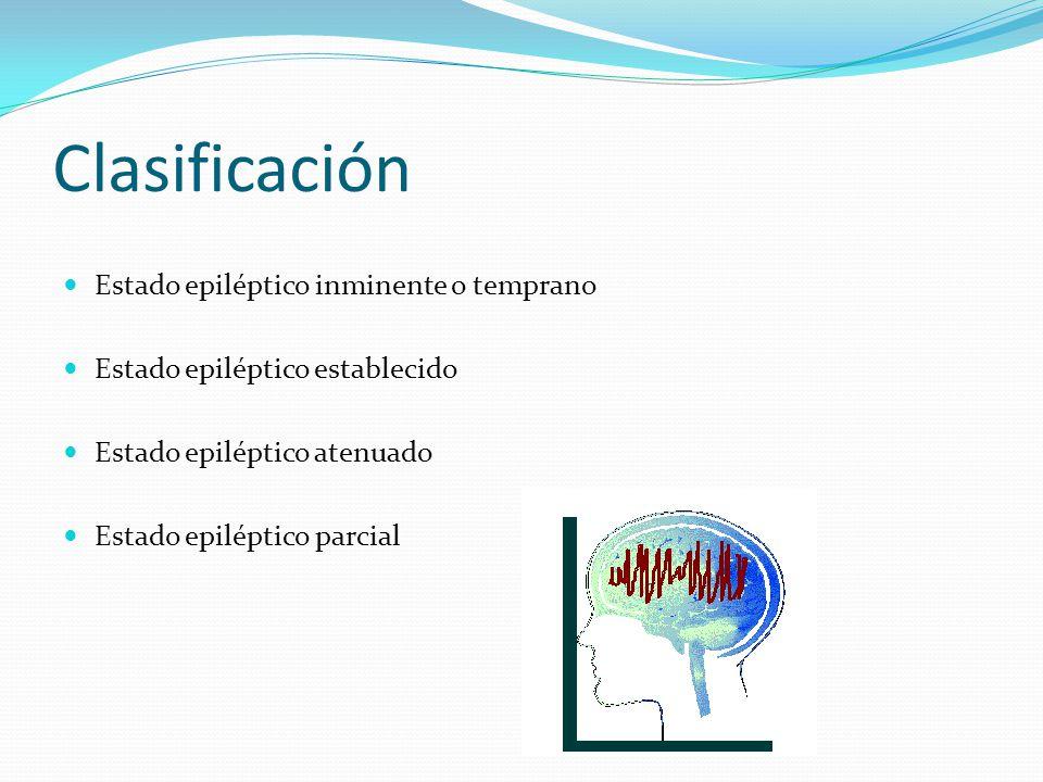 Clasificación Estado epiléptico inminente o temprano Estado epiléptico establecido Estado epiléptico atenuado Estado epiléptico parcial