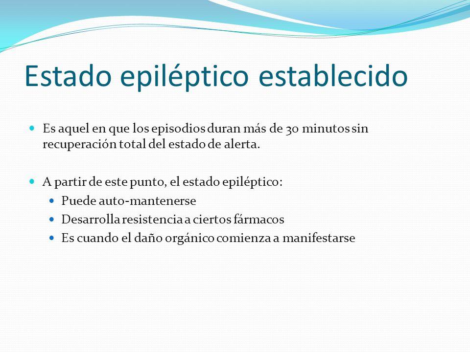 Estado epiléptico establecido Es aquel en que los episodios duran más de 30 minutos sin recuperación total del estado de alerta.