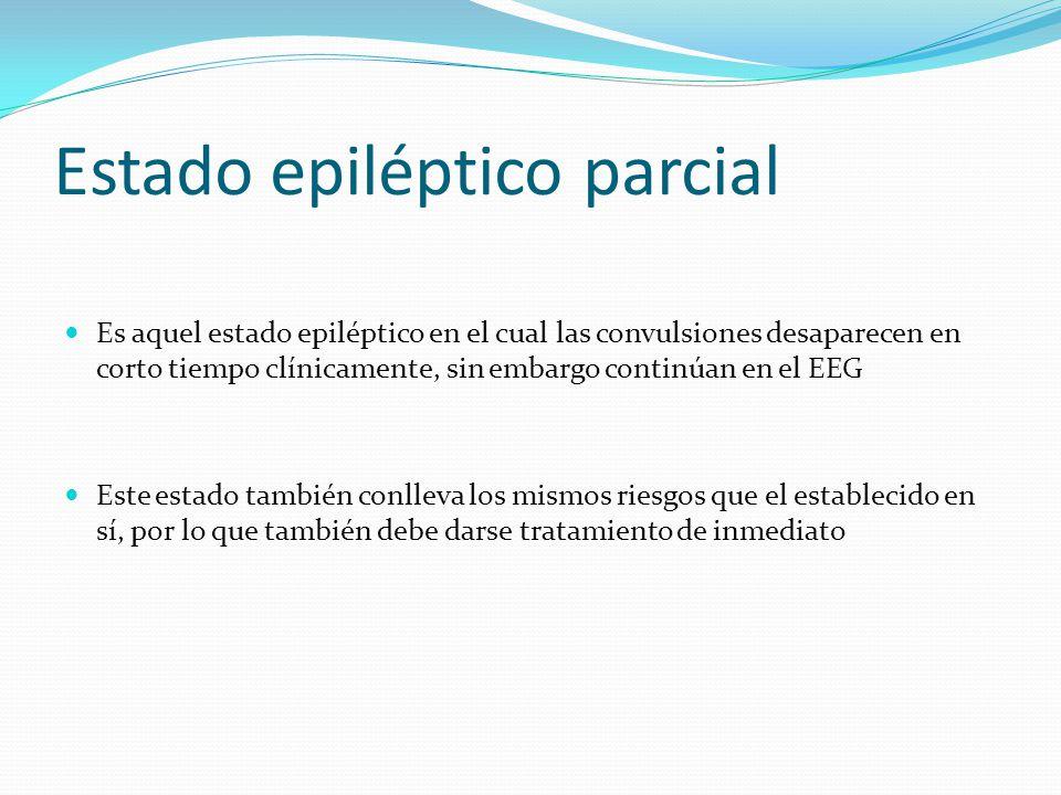 Estado epiléptico parcial Es aquel estado epiléptico en el cual las convulsiones desaparecen en corto tiempo clínicamente, sin embargo continúan en el EEG Este estado también conlleva los mismos riesgos que el establecido en sí, por lo que también debe darse tratamiento de inmediato