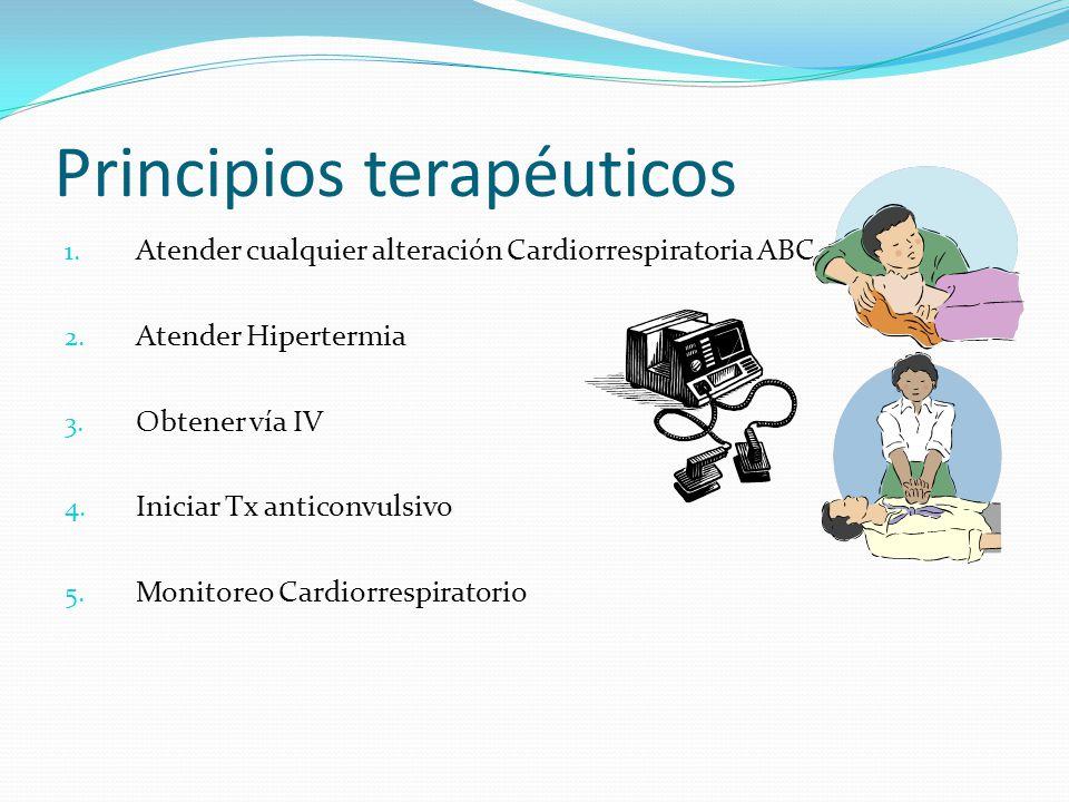 Principios terapéuticos 1.Atender cualquier alteración Cardiorrespiratoria ABC 2.