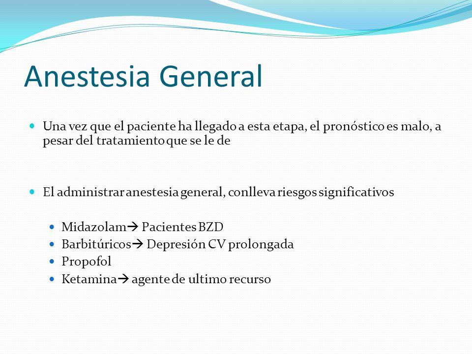 Anestesia General Una vez que el paciente ha llegado a esta etapa, el pronóstico es malo, a pesar del tratamiento que se le de El administrar anestesia general, conlleva riesgos significativos Midazolam Pacientes BZD Barbitúricos Depresión CV prolongada Propofol Ketamina agente de ultimo recurso