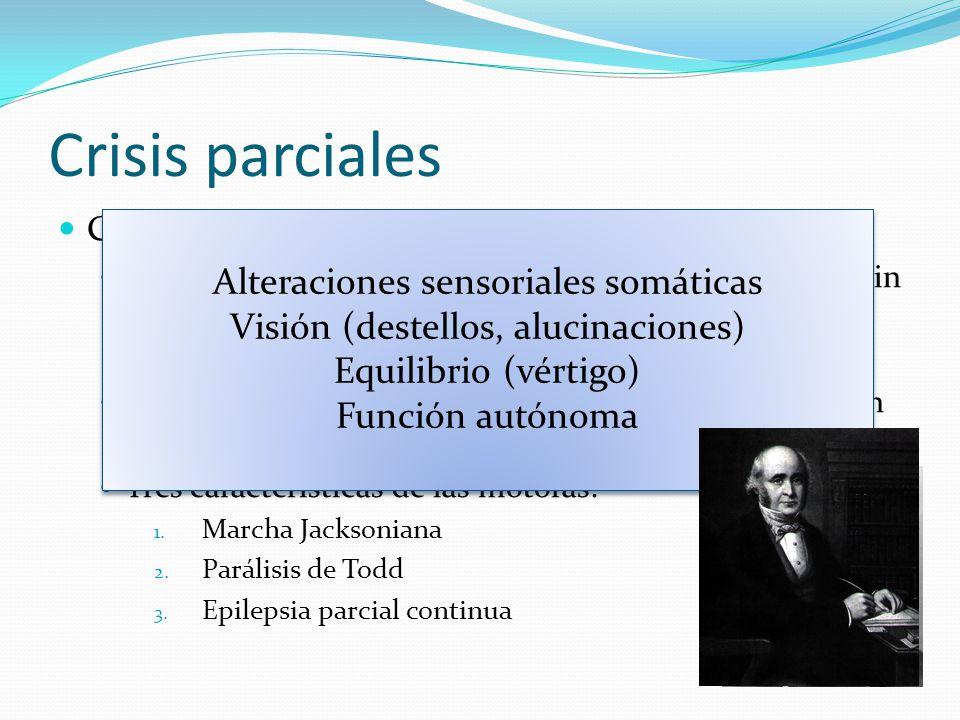 Crisis parciales Crisis parciales simples Síntomas motores, sensitivos, autónomos o psíquicos sin alteración evidente de la conciencia.