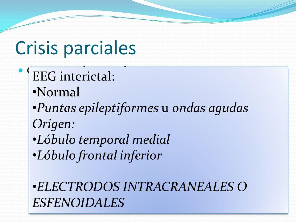 Crisis parciales Crisis parciales complejas Se acompaña de una alteración transitoria de la capacidad del paciente para mantener un contacto normal con el medio.