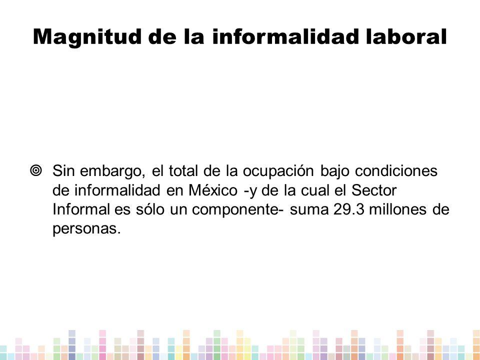 Sin embargo, el total de la ocupación bajo condiciones de informalidad en México -y de la cual el Sector Informal es sólo un componente- suma 29.3 millones de personas.