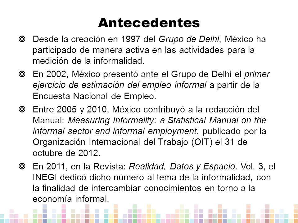 Desde la creación en 1997 del Grupo de Delhi, México ha participado de manera activa en las actividades para la medición de la informalidad.