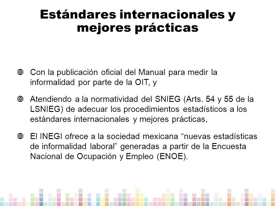 Con la publicación oficial del Manual para medir la informalidad por parte de la OIT, y Atendiendo a la normatividad del SNIEG (Arts.